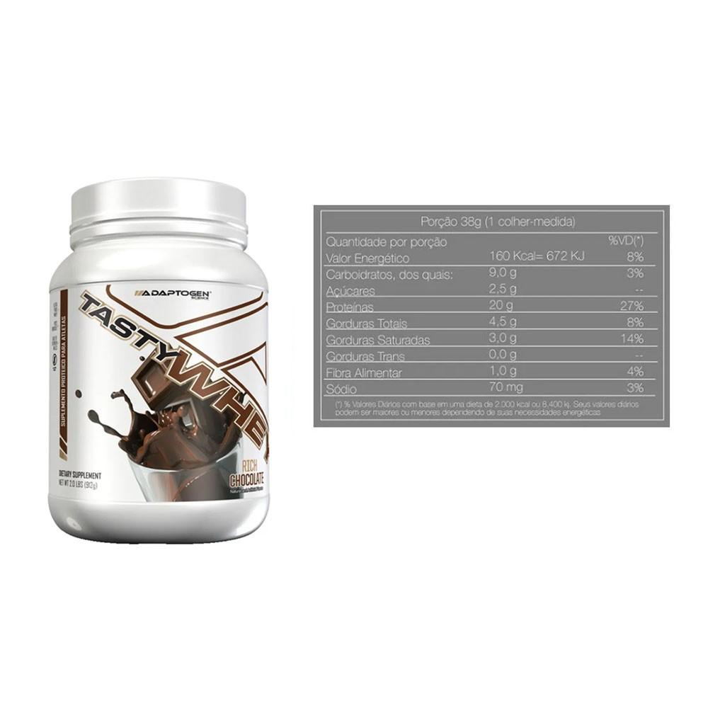 Tasty Whey 2 LBS Chocolate + Bcaa 90 Caps - Adaptogen  - KFit Nutrition