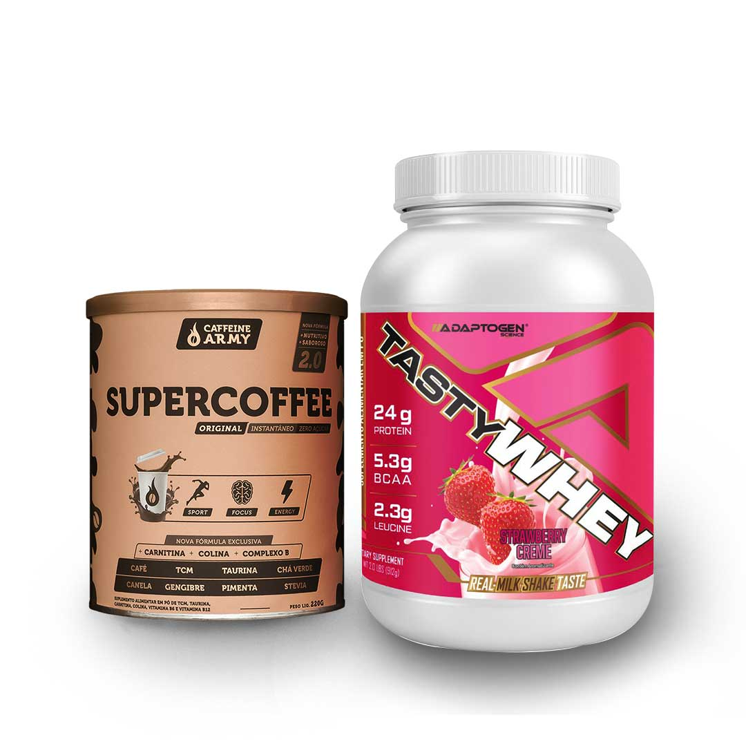 Tasty Whey 2 Lbs Morango e Supercoffee 220g  - KFit Nutrition