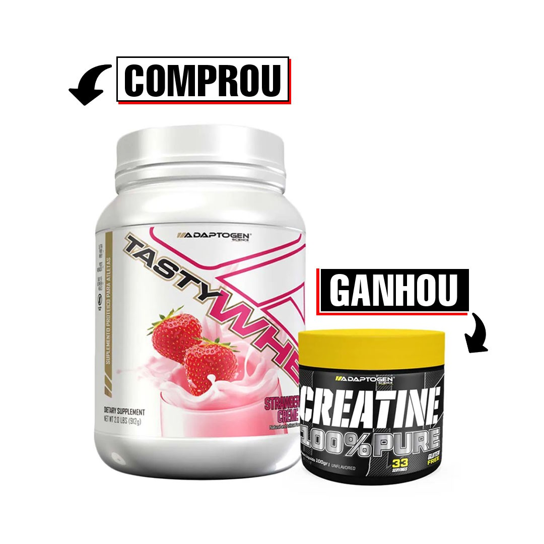 Tasty Whey 900g Strawberry e Creatina 100g Adaptogen  - KFit Nutrition
