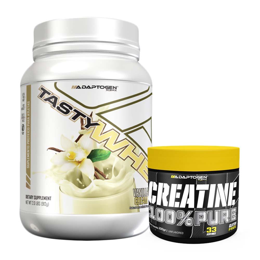 Tasty Whey 900g Vanilla + Creatina 100g Adaptogen  - KFit Nutrition