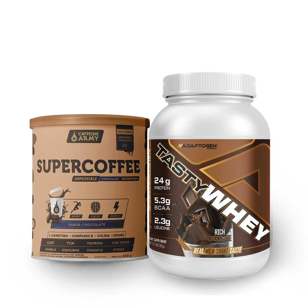 Tasty Whey Chocolate 2.0 Lbs e Supercoffee Choc 220g  - KFit Nutrition