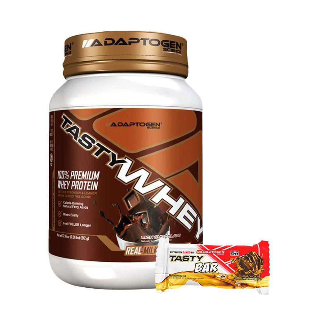 Tasty Whey Chocolate 2Lbs +Tasty Bar Chocolate P/ Butter 51g  - KFit Nutrition
