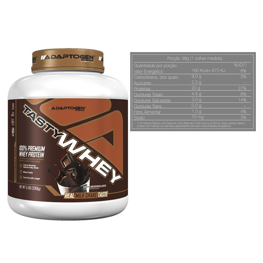 Tasty Whey Chocolate 5 LB +Tasty Bar Chocolate P/ Butter 51g  - KFit Nutrition
