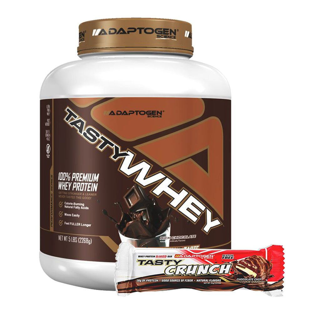Tasty Whey Chocolate 5Lb + Tasty Bar Chocolate Chip 51g  - KFit Nutrition