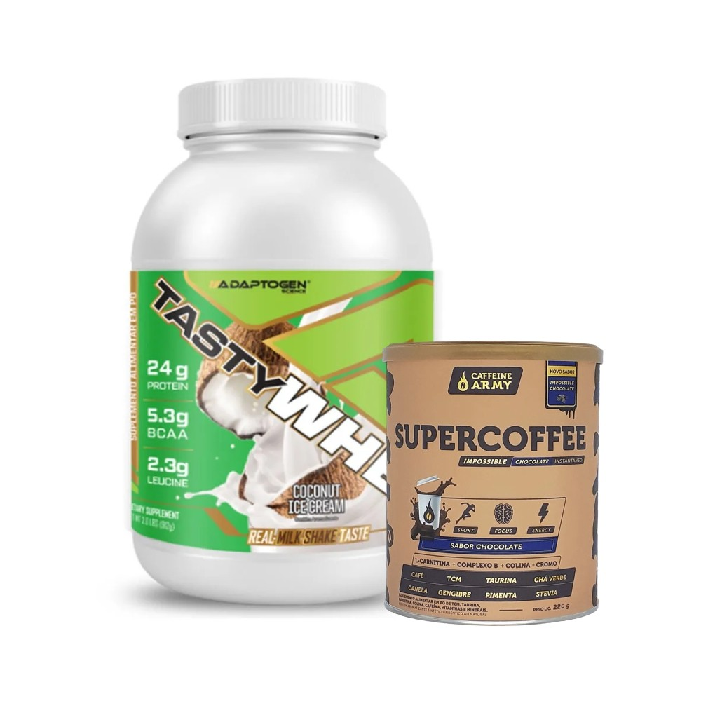 Tasty Whey Coco 2.0 Lbs e Supercoffee Choc 220g  - KFit Nutrition