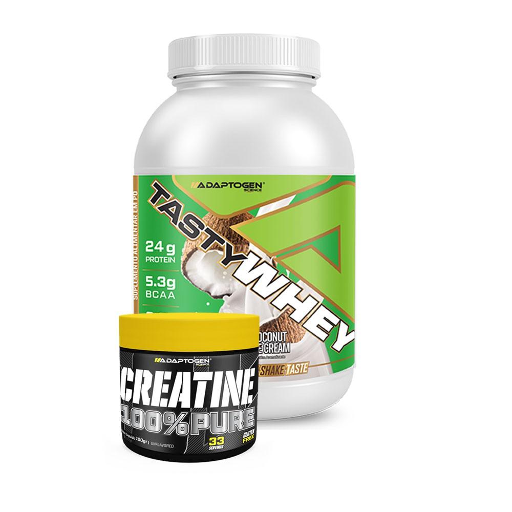 Tasty Whey Coconut 900g + Creatina 100g Adaptogen  - KFit Nutrition