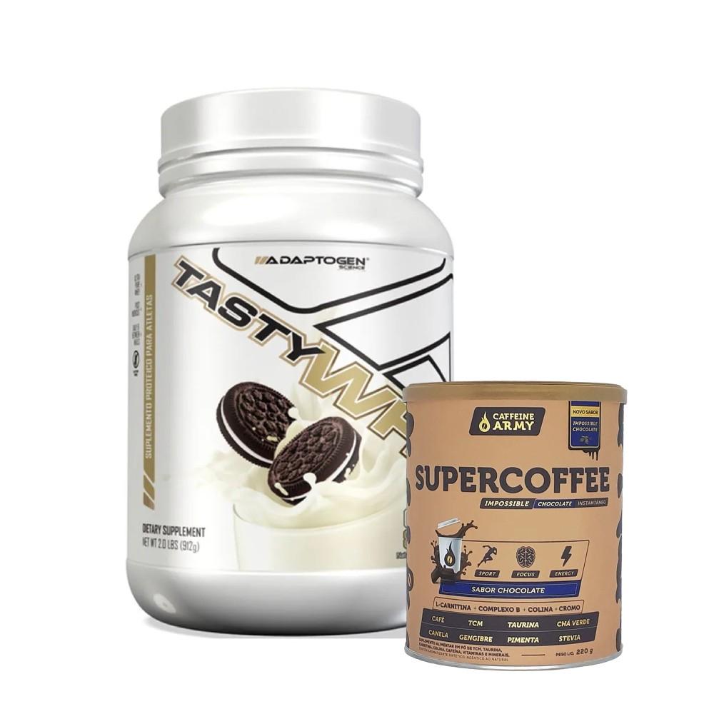 Tasty Whey Cookies 2.0 Lbs e Supercoffee Choc 220g  - KFit Nutrition
