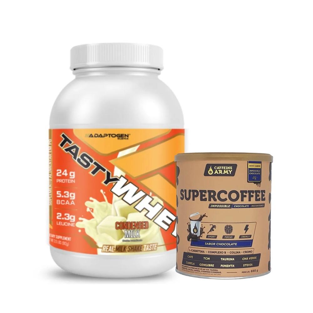 Tasty Whey Leite Condensado 2.0 Lbs e Supercoffee Choc 220g  - KFit Nutrition