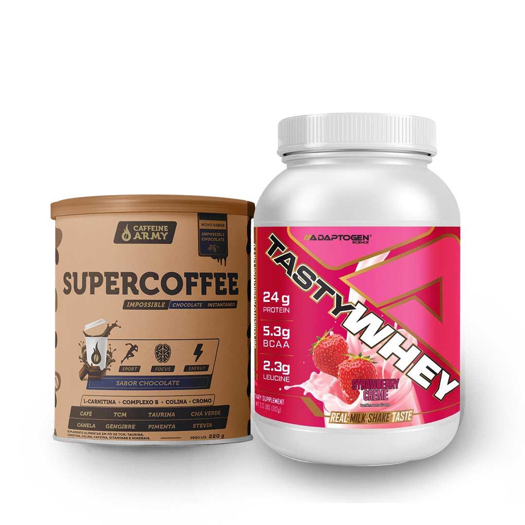 Tasty Whey Strawberry 2.0 Lbs e Supercoffee Choc 220g  - KFit Nutrition