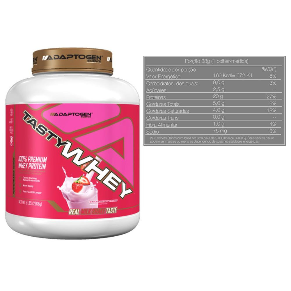 Tasty Whey Strawberry 5Lb +Tasty Bar Chocolate P/ Butter 51g  - KFit Nutrition