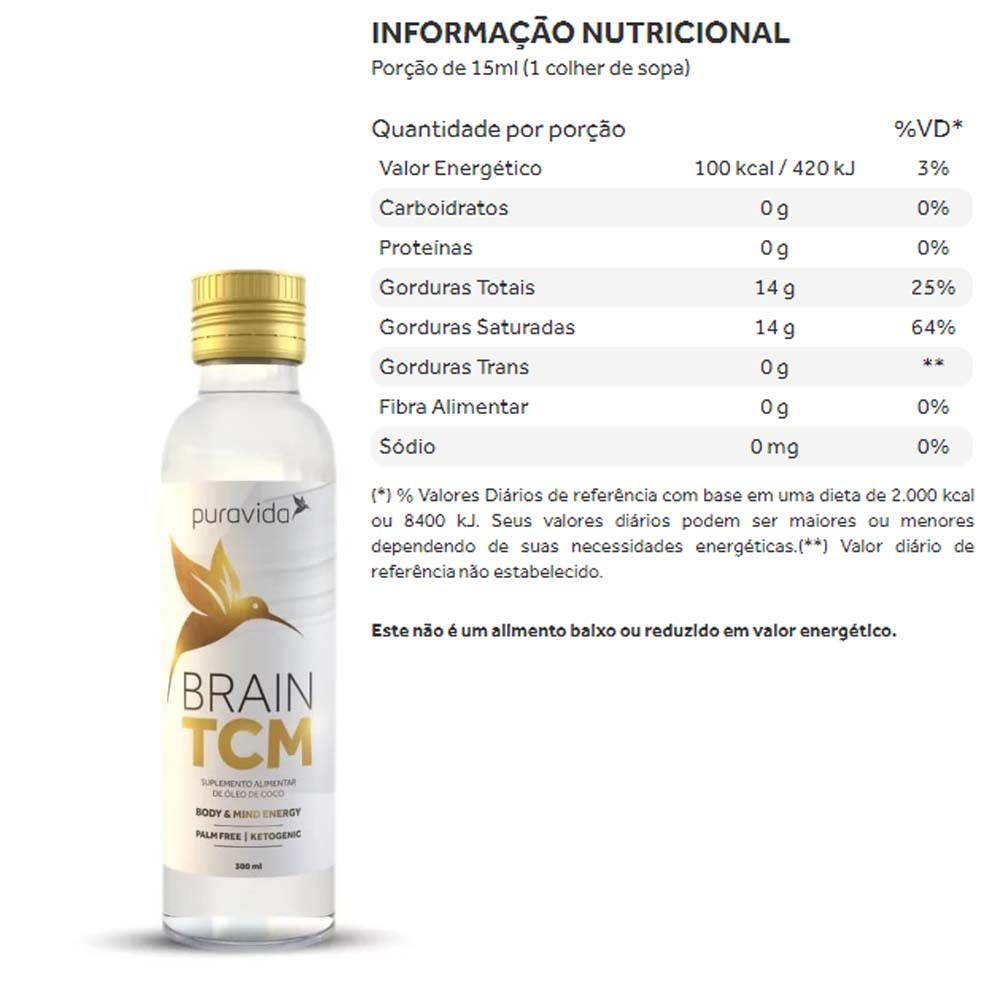TCM Brain Oleo de Coco 300ml - PuraVida  - KFit Nutrition