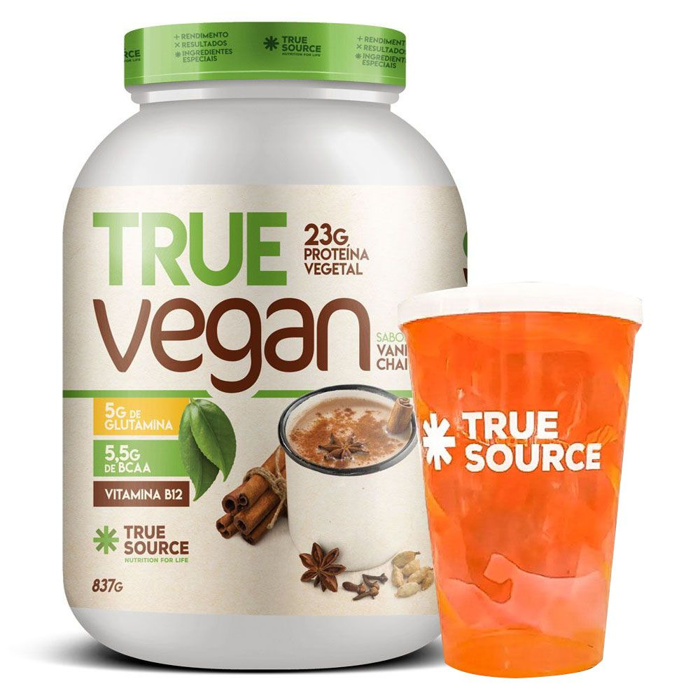 True Vegan Chai Tea 837g + Copo True Source  - KFit Nutrition