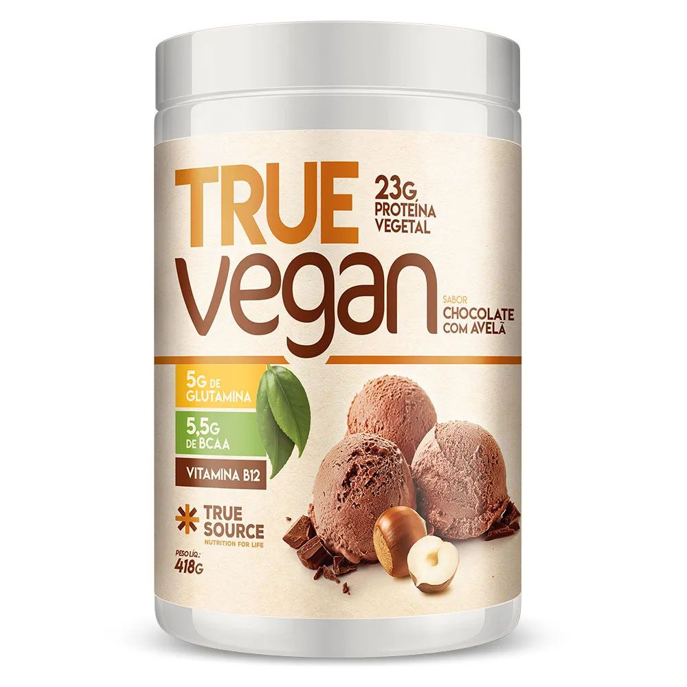 True Vegan Chocolate com Avela 418g - Proteina Vegana True Source  - KFit Nutrition