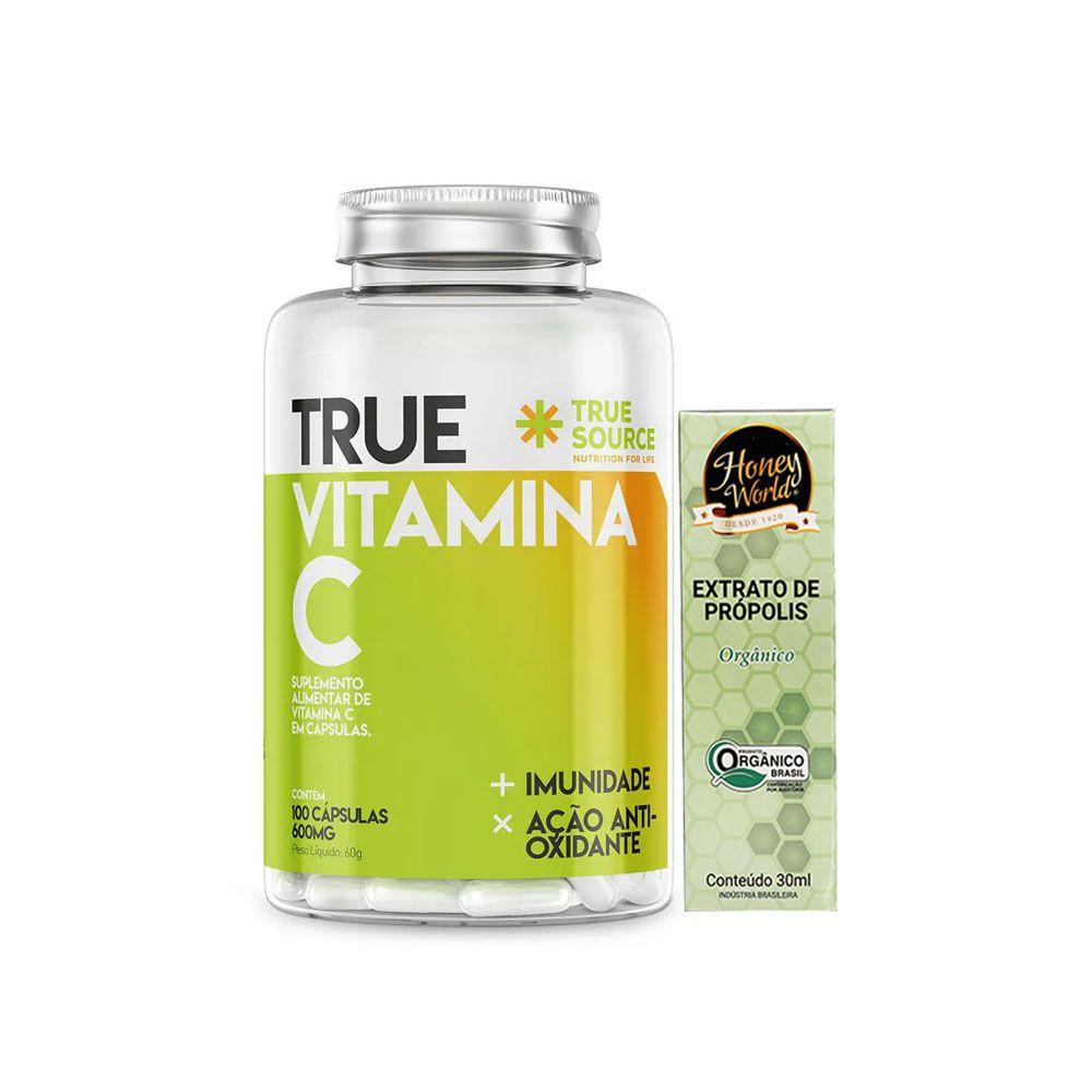 True Vitamina C (500mg) 100 Caps + Própolis Orgânico  - KFit Nutrition