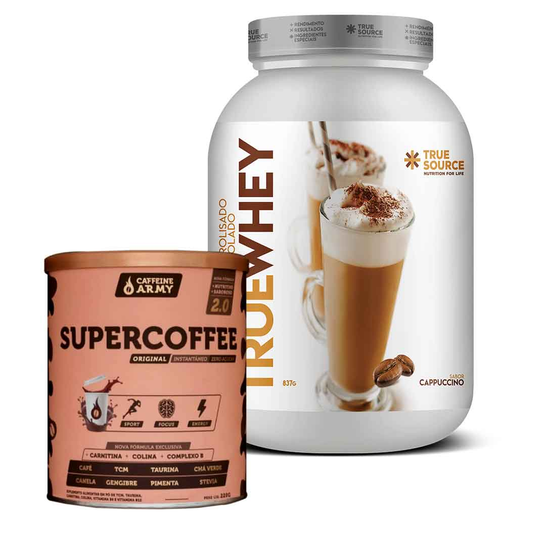 True Whey Cappuccino 837g + Supercoffee 2.0 220g  - KFit Nutrition