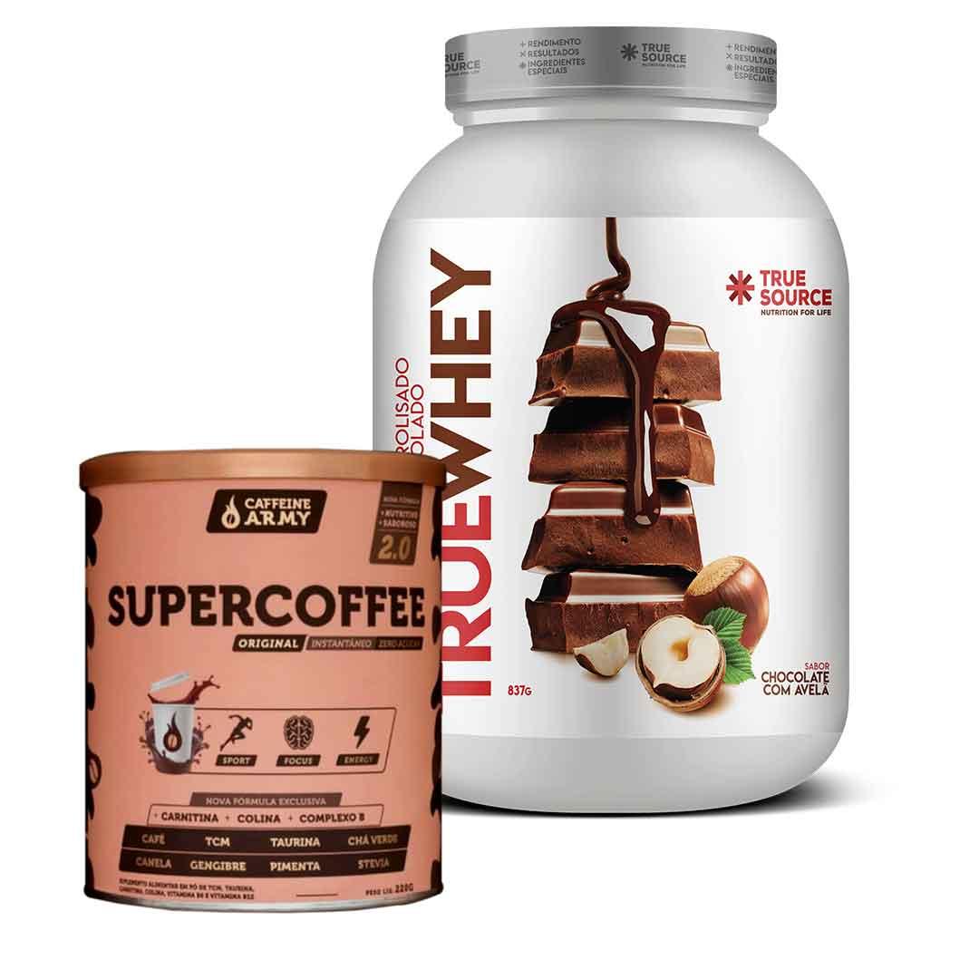 True Whey Chocolate C/ Avelã 837g + Supercoffee2.0  220g  - KFit Nutrition