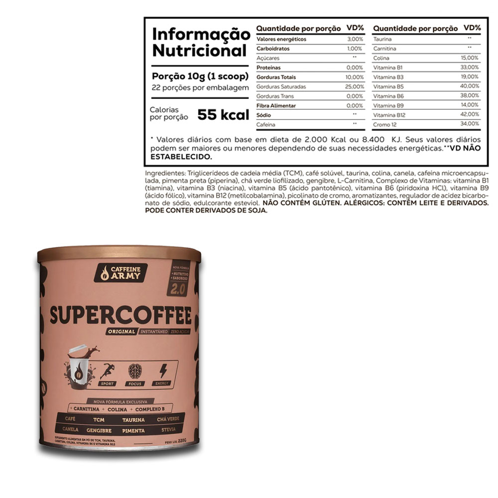 True Whey Concentrado Chocolate 900g e Supercoffee 2.0  - KFit Nutrition