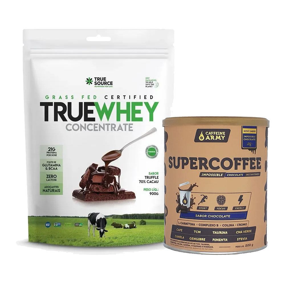 True Whey Concentrado Chocolate 900g e Supercoffee Choc  - KFit Nutrition