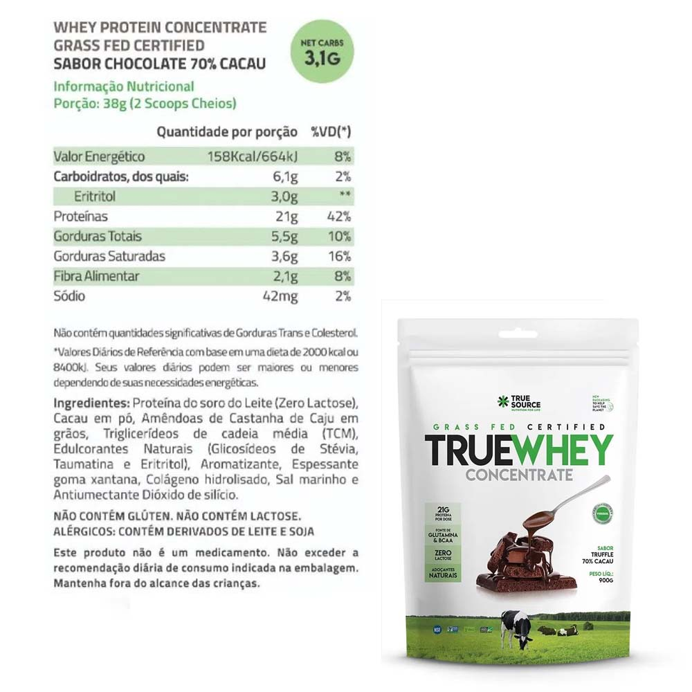 True Whey Concentrado Chocolate 900g Pouch - True Source  - KFit Nutrition
