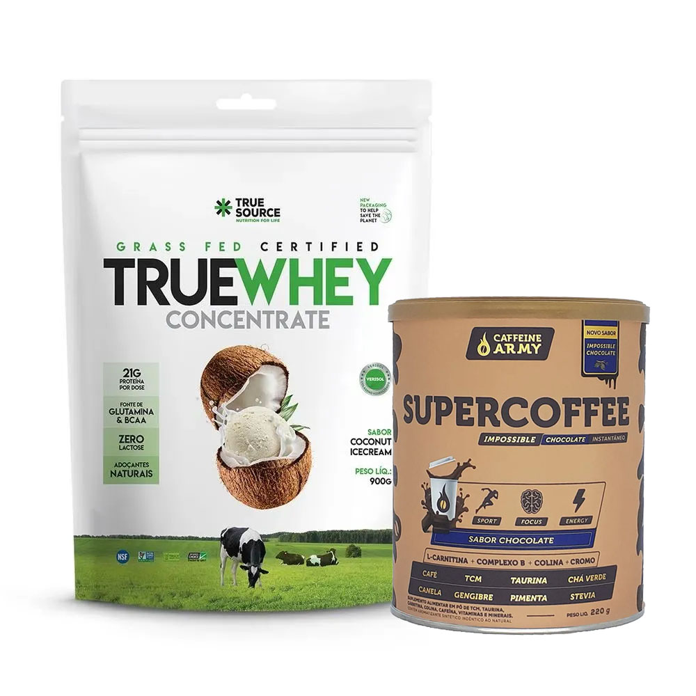 True Whey Concentrado Coconut 900g e Supercoffee Choc  - KFit Nutrition
