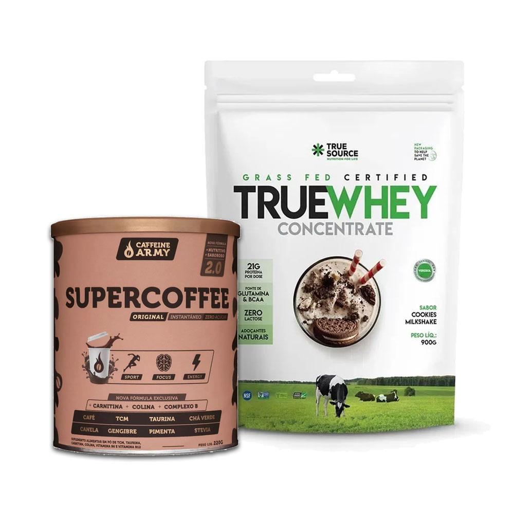 True Whey Concentrado cookies 900g e Supercoffee 2.0  - KFit Nutrition