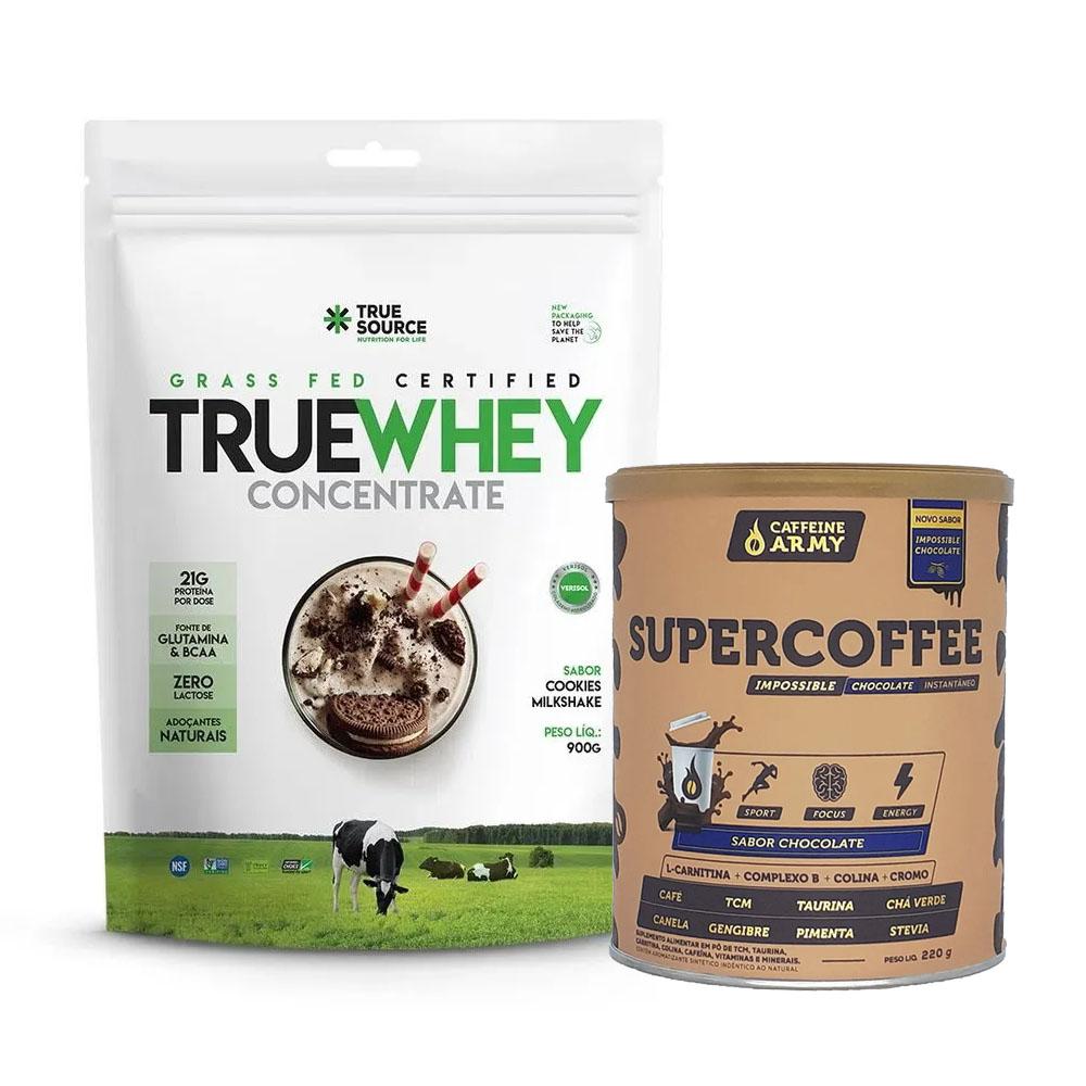 True Whey Concentrado Cookies 900g e Supercoffee Choc  - KFit Nutrition
