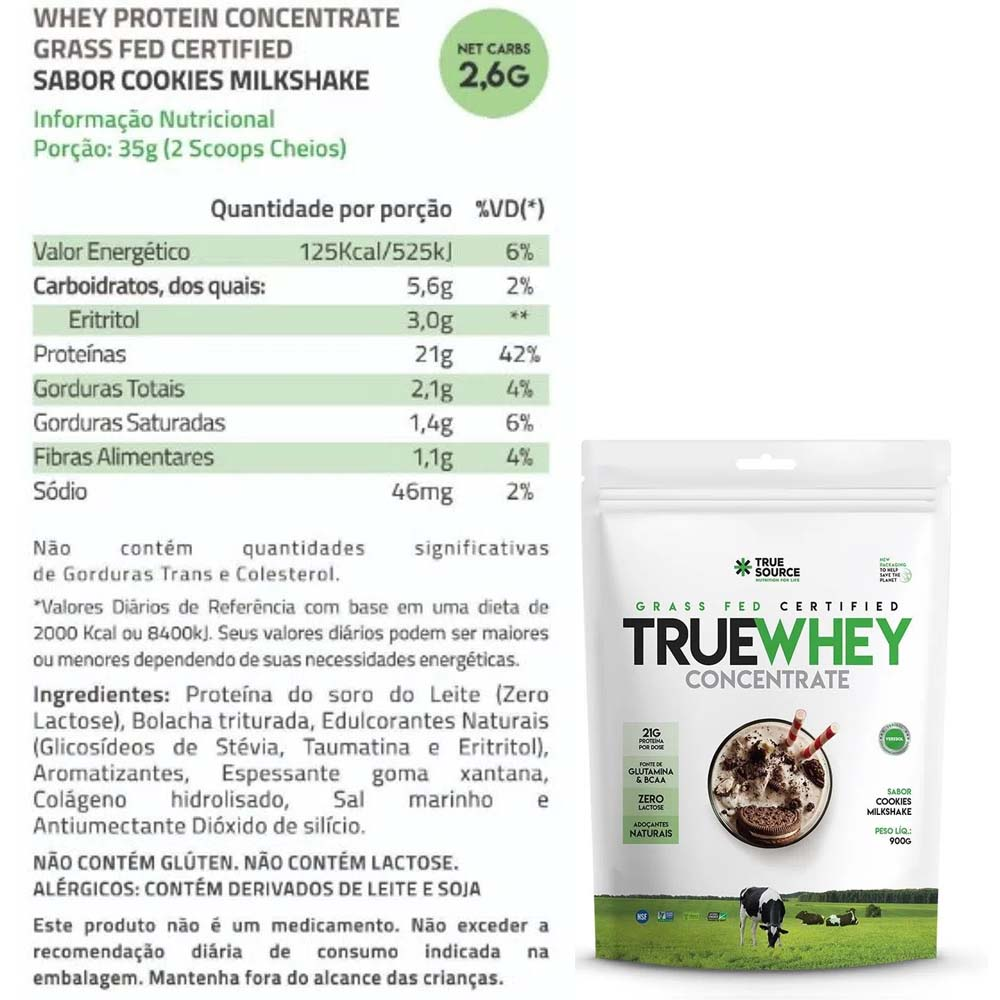 True Whey Concentrado Cookies Milkshake 900g Pouch - True Source  - KFit Nutrition