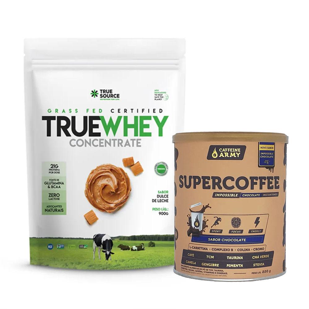 True Whey Concentrado Doce de Leite 900g e Supercoffee Choc  - KFit Nutrition