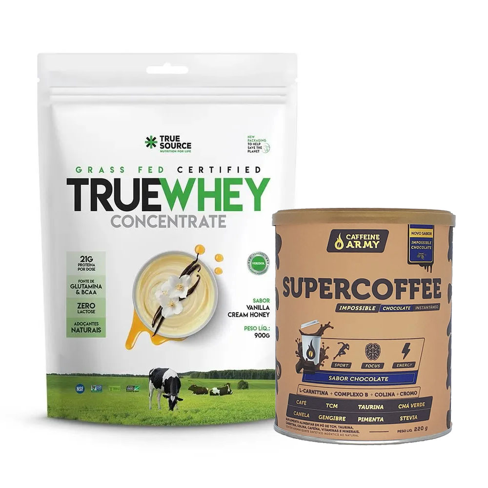 True Whey Concentrado Vanilla Cream 900g e Supercoffee Choc  - KFit Nutrition