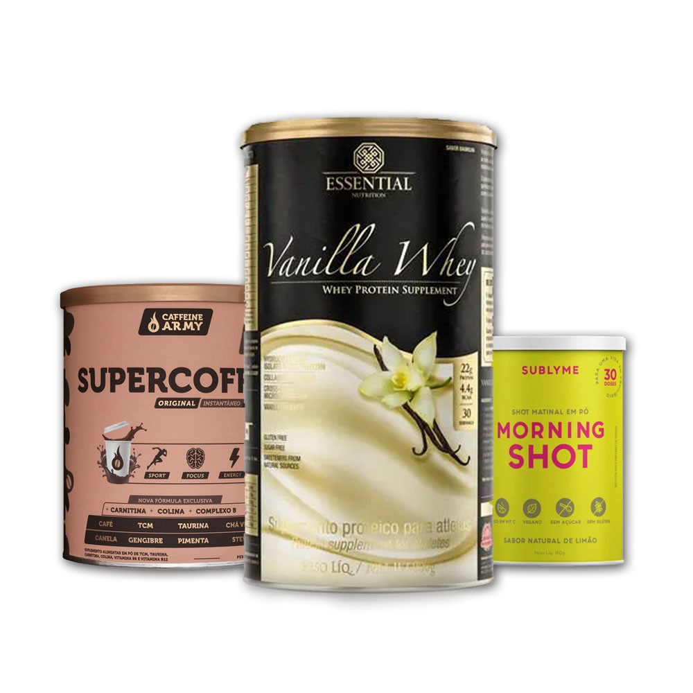 Vanilla Whey 900g + Supercoffee 2.0 + Morning Shot Lata  - KFit Nutrition
