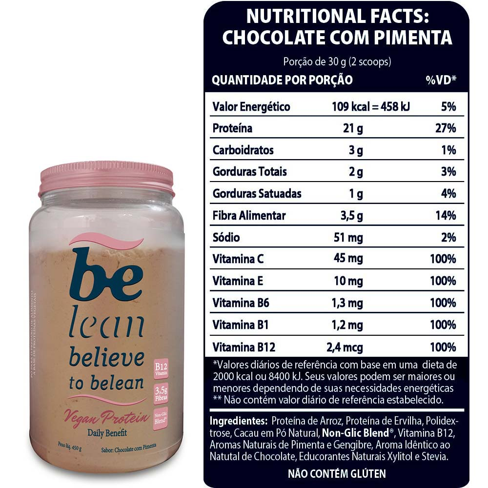 Vegan Protein Daily Benefit Chocolate com Pimenta 450g - Be Lean  - KFit Nutrition