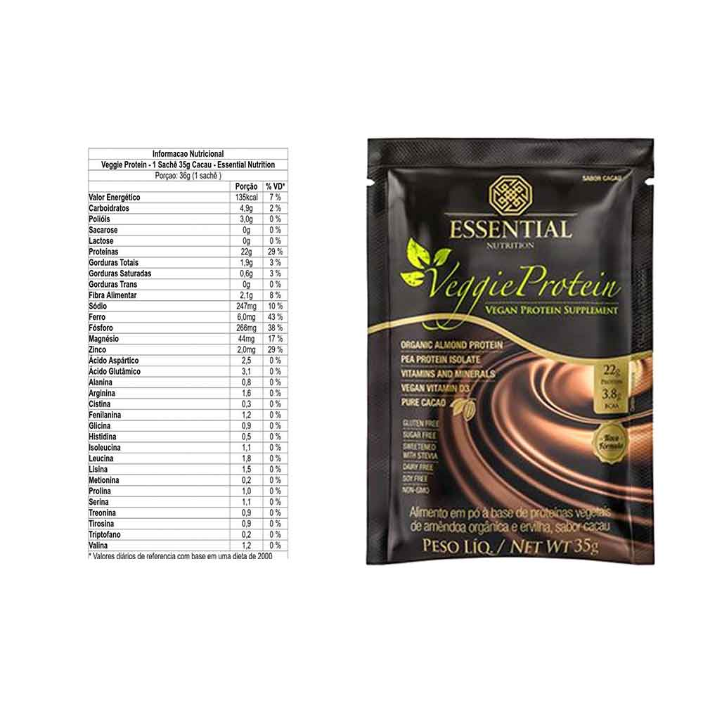 Veggie Whey 35g Sachê Cacau - Essential Nutrition  - KFit Nutrition