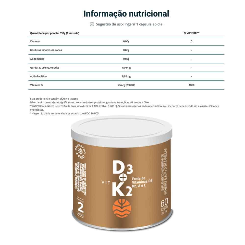 Vit D3 K2 60 Caps - Vital Âtman  - KFit Nutrition