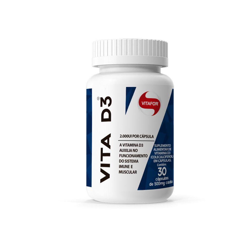 Vitamina D   Vita D3 30 Caps Vitafor  - KFit Nutrition