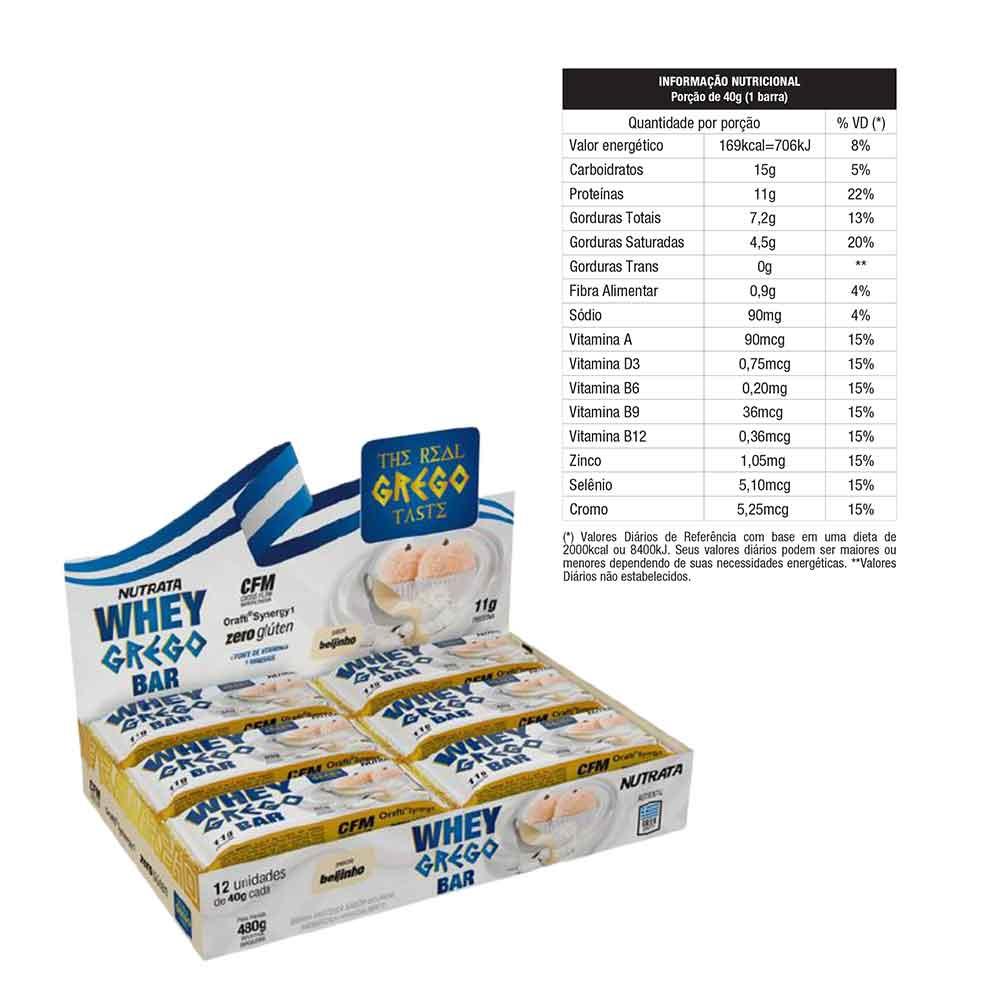 Whey Bar Grego Beijinho 480g Cx 12un - Nutrata  - KFit Nutrition