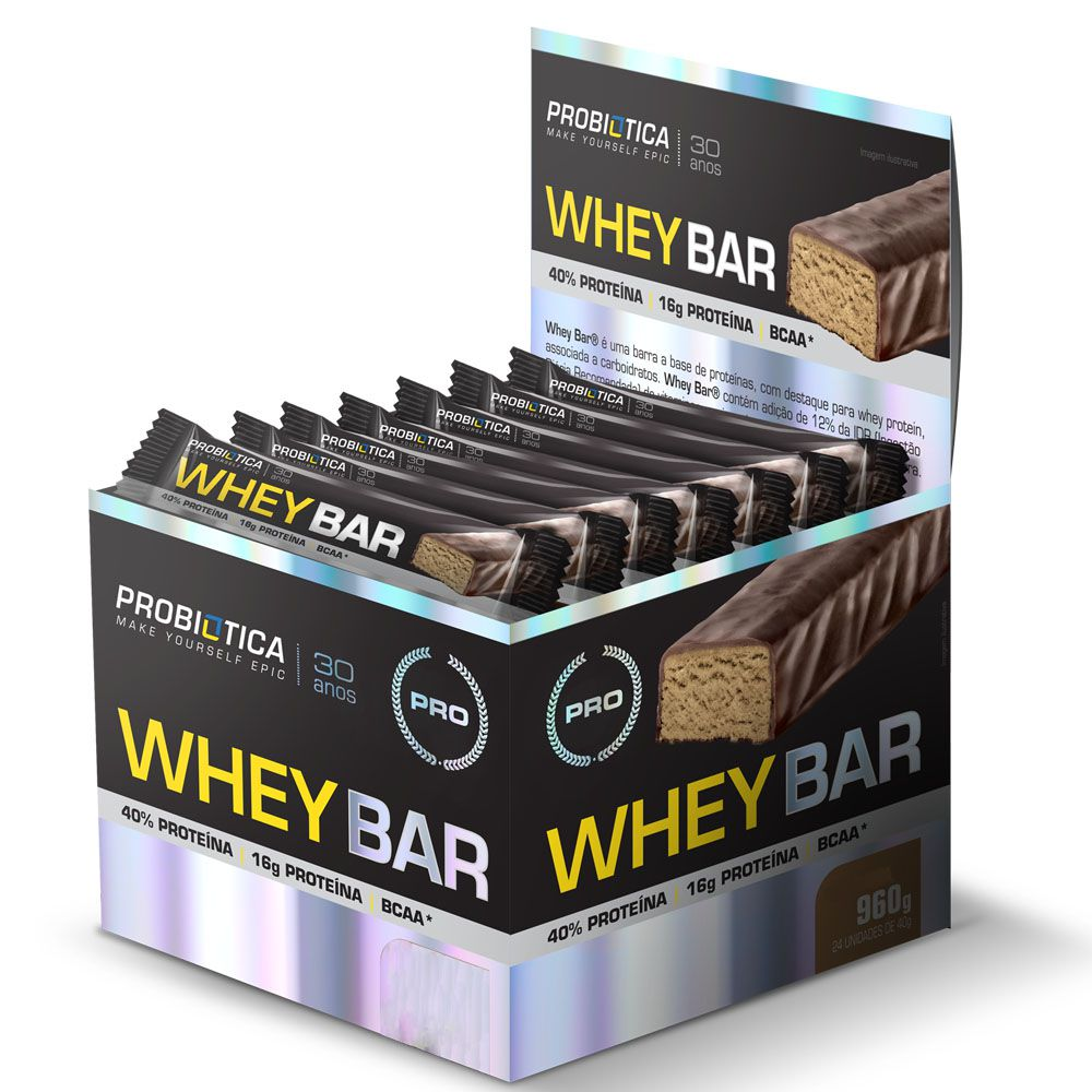 Whey Bar Low Carb Chocolate Probiótica - Caixa com 24 un  - KFit Nutrition