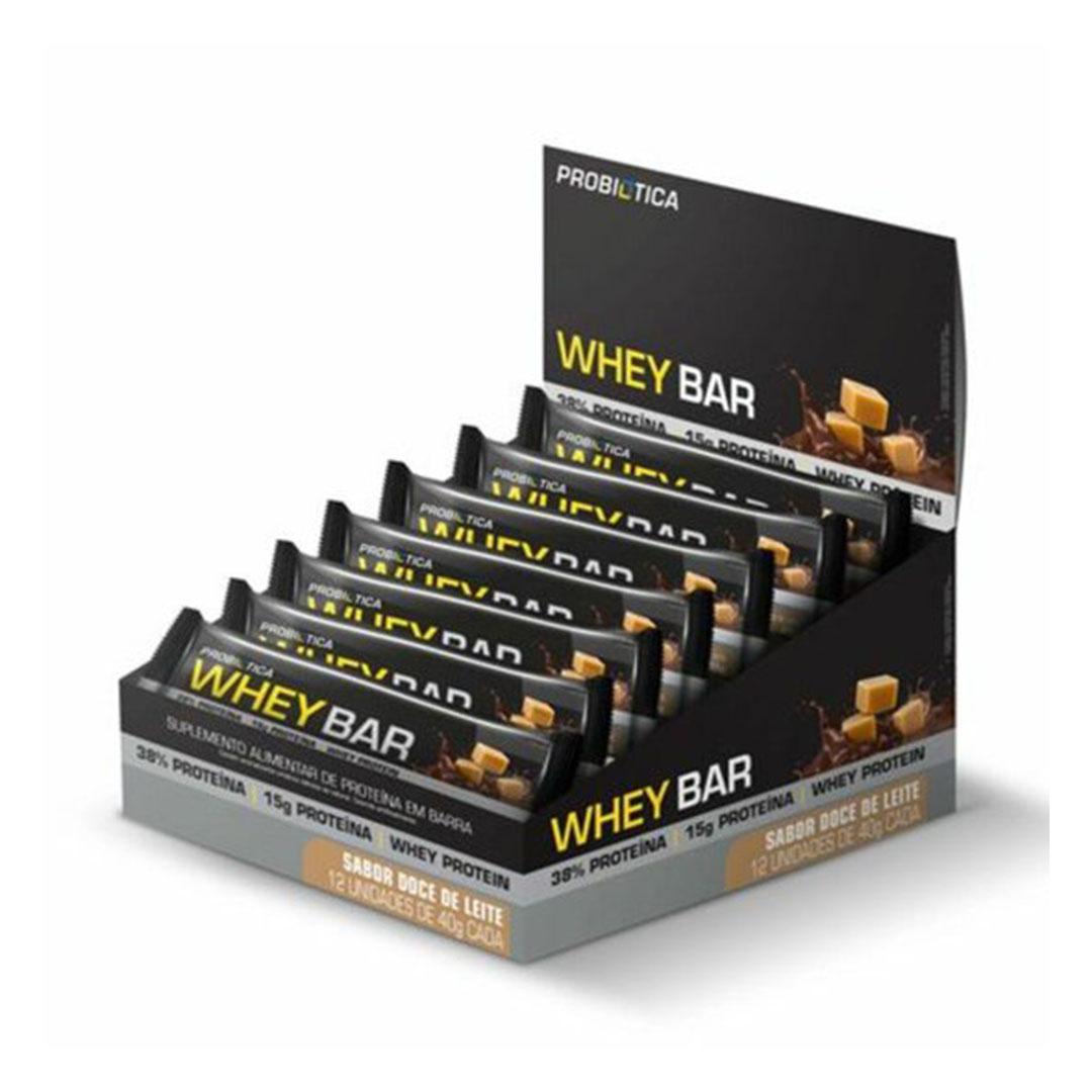 Whey Bar Low Carb Doce de Leite Cx 12 Un - Probiótica  - KFit Nutrition