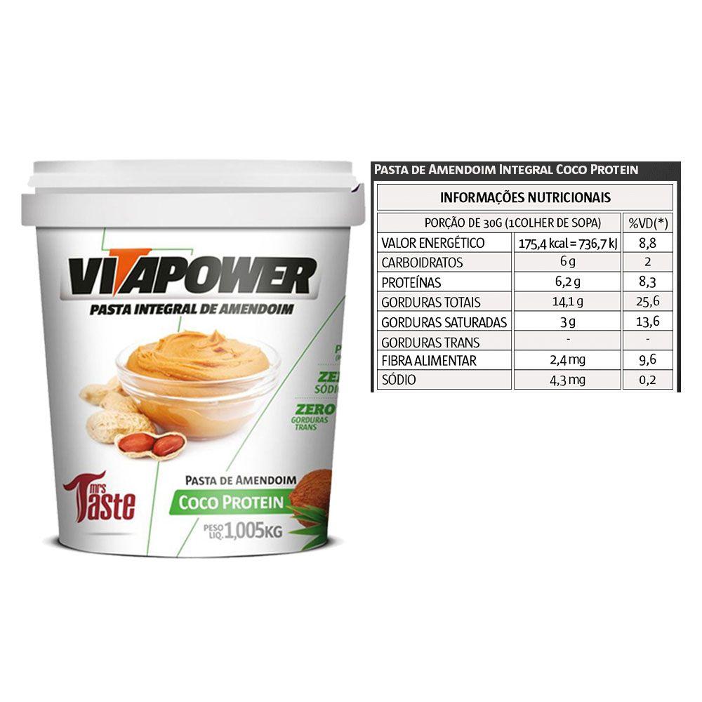 Whey Concentrado 900g Banana + Pasta Vitapower 1Kg Coco  - KFit Nutrition