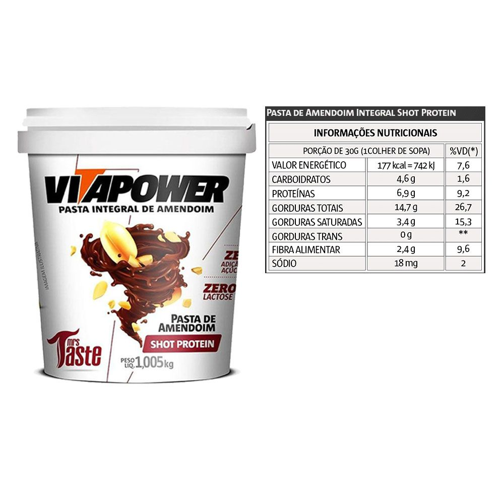 Whey Concentrado 900g Banana + Pasta Vitapower 1Kg Shot  - KFit Nutrition