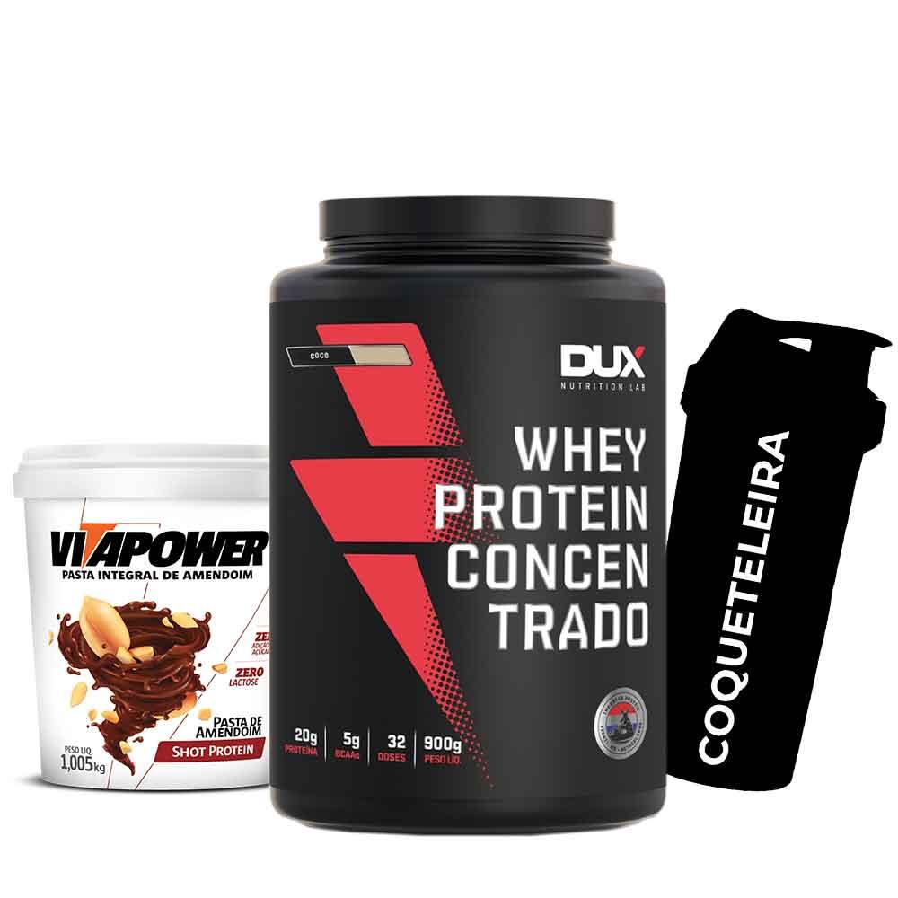 Whey Concentrado 900g Coco + Vitapower 1kg Shot + Coqueteleira  - KFit Nutrition