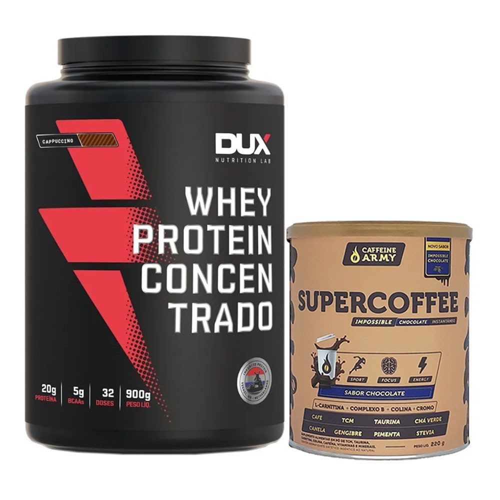 Whey Concentrado Cappuccino 900g e Supercoffee 220g Choc  - KFit Nutrition