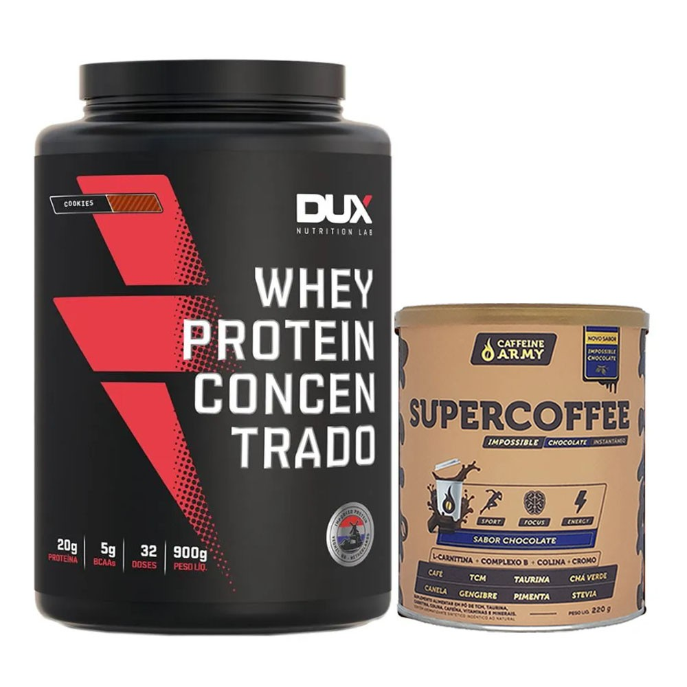 Whey Concentrado Cookies 900g e Supercoffee 220g Chocolate  - KFit Nutrition