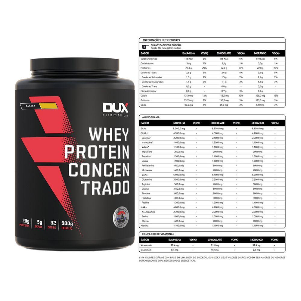 Whey Concentrado Dux 900g Banana + Barra de Proteína  - KFit Nutrition