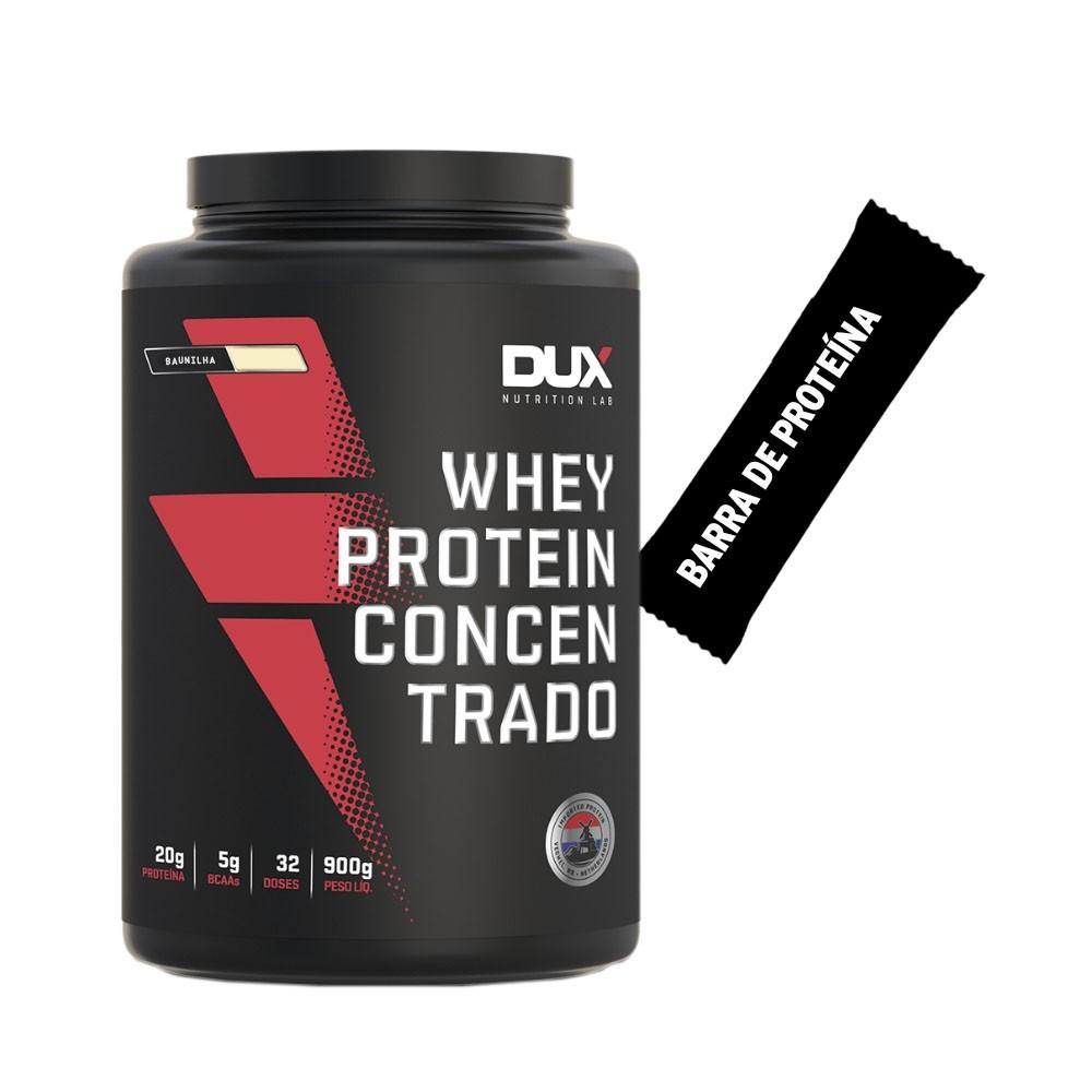 Whey Concentrado Dux 900g Baunilha + Barra de Proteína  - KFit Nutrition