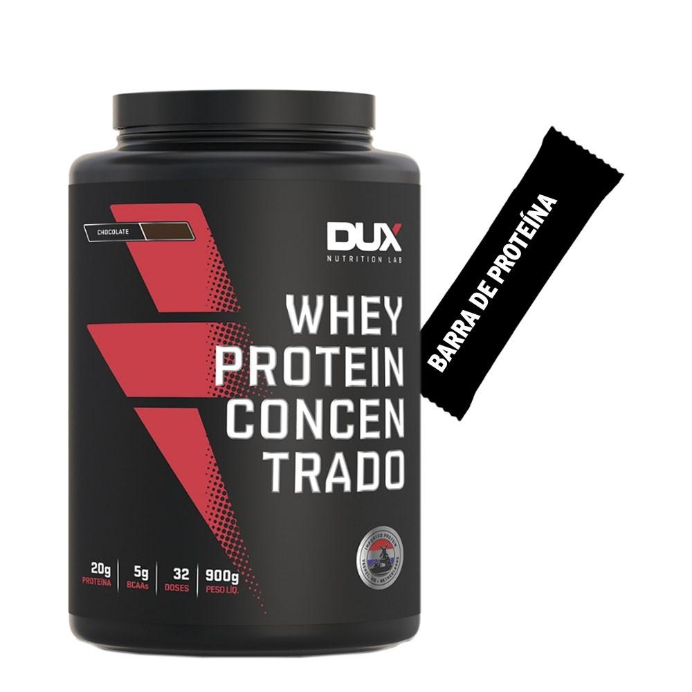 Whey Concentrado Dux 900g Chocolate + Barra de Proteína  - KFit Nutrition