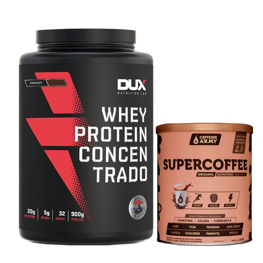 Whey Concentrado Dux 900g Chocolate + Supercoffee 2.0  - KFit Nutrition