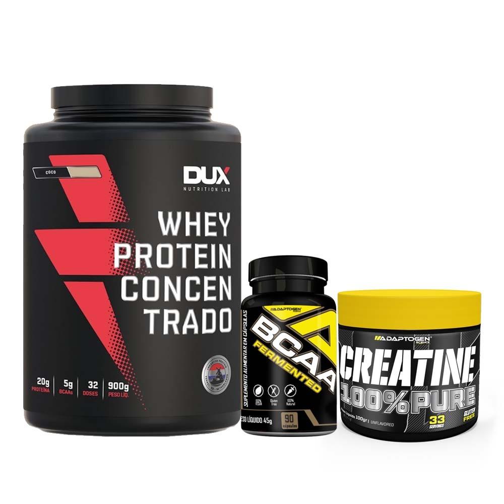Whey Concentrado Dux 900G Coco e Bcaa 90 Caps e Creatina 100g  - KFit Nutrition