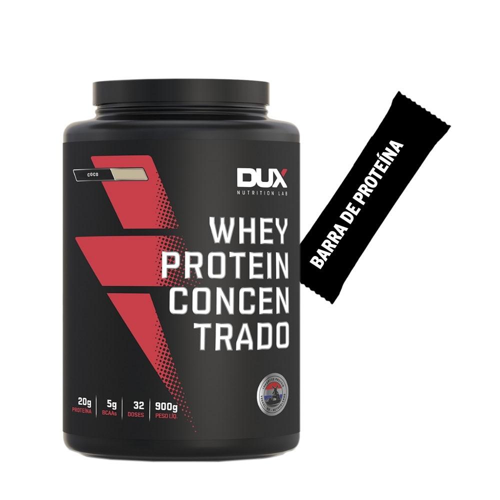 Whey Concentrado Dux 900g Coco + Barra de Proteína  - KFit Nutrition