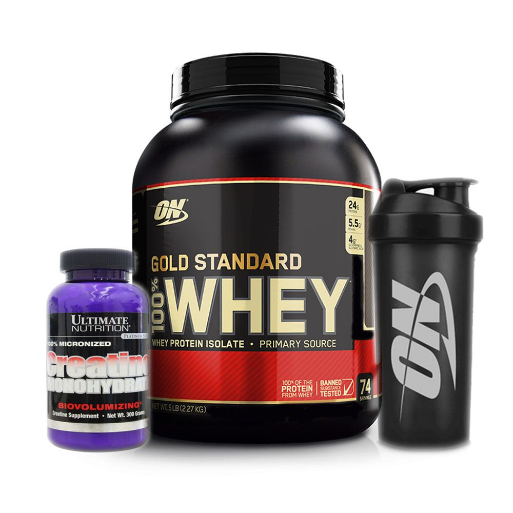 Whey Gold Standard 2.270g Double Rich + Creatina + bottle  - KFit Nutrition