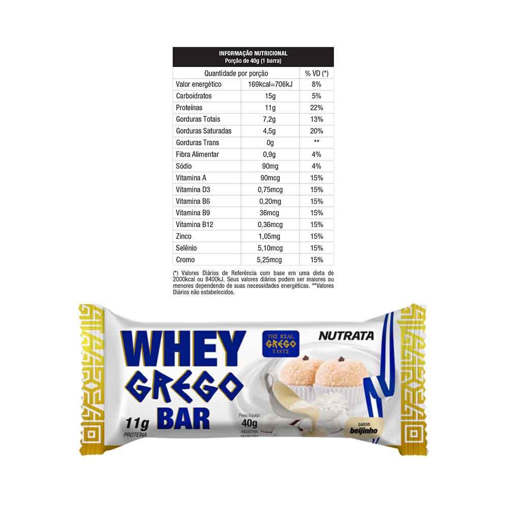 Whey Grego Bar 40g Sabor Beijinho - Nutrata  - KFit Nutrition